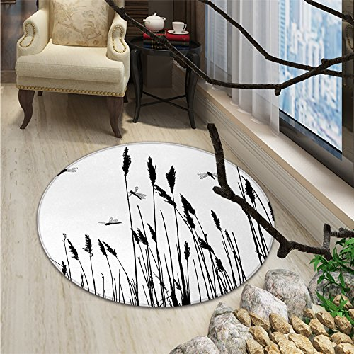Dragonfly Round Rugs Wheat Field Autumn Agriculture Background Nature Harvest Bush Herbs Theme ArtOriental Floor and Carpets Black White (Autumn Wheat Rug)