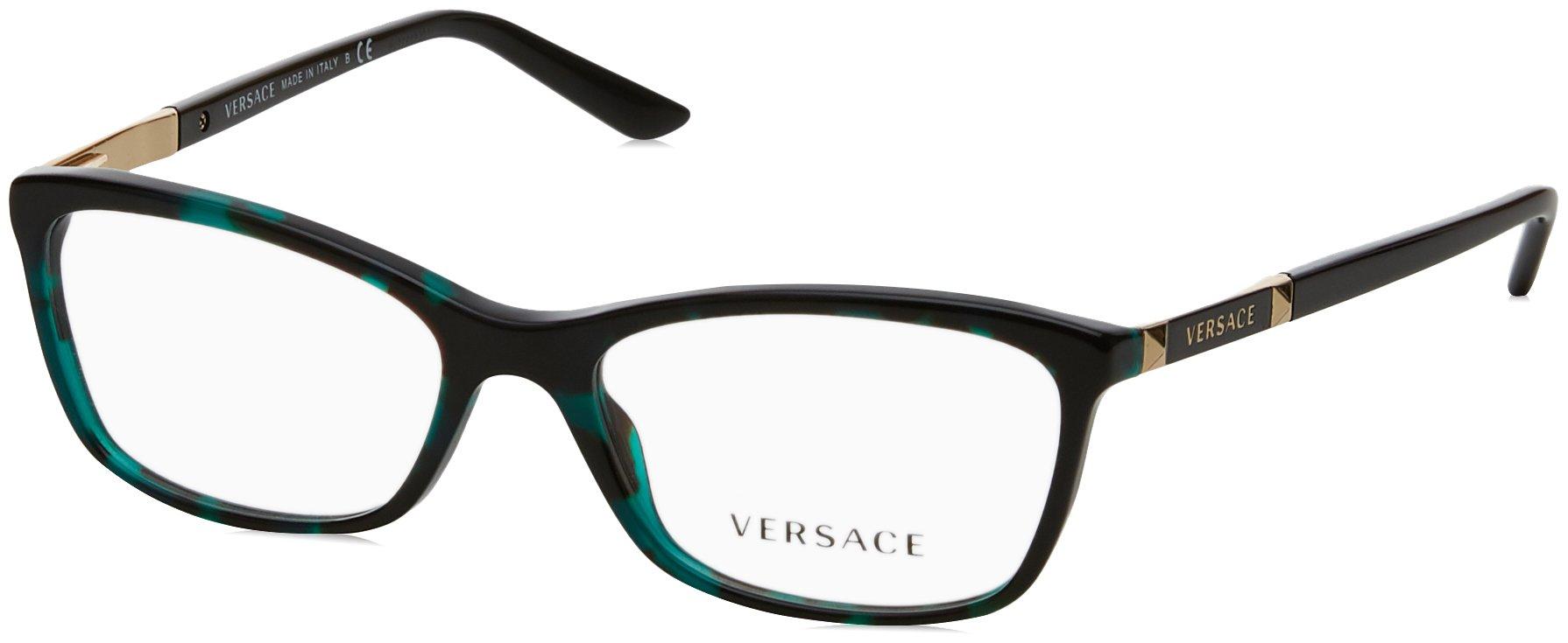 Versace VE3186 Eyeglass Frames 5076-52 - Green Havana Transp VE3186-5076-52