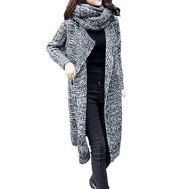 Abrigos Mujer, Hanomes Mujeres Escudo Manga Larga De Gran Tamaño Suelto Punto Suéter Cardigan Bufanda-Collar DG: Amazon.es: Ropa y accesorios