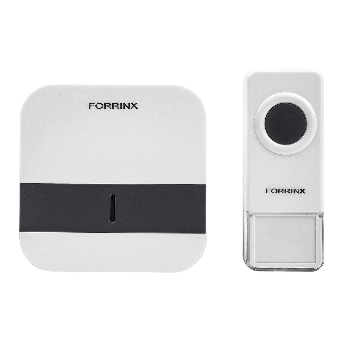 FORRINX Portable Wireless Doorbell Kit with IP44 Waterproof Transmitter and with 52Chimes Fireproof Receiver, No Batteries Required for Receiver,Remote Operating Over 900 Feet in Open Air
