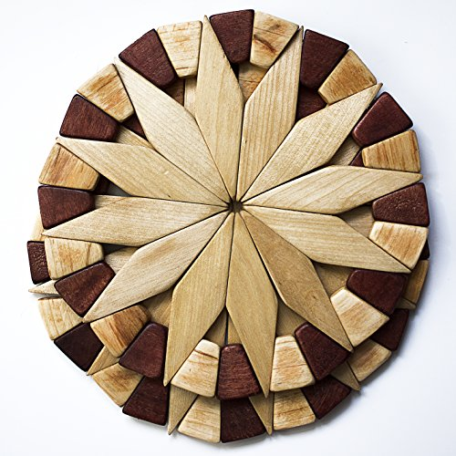 Natural Wood Trivets For Hot Dishes – 2 Eco-friendly, Sturdy and Durable Kitchen Hot Pads. Handmade Festive Design Table Decor – Perfect Kitchen Gifts…