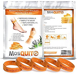 MosQuitO Repellent Bracelets 5 Pack - 100% All Natural Ingredients Insect Repellent - Safe Microfiber with Citronella Lemongrass Geraniol and Peppermint - DEET FREE Insect Protection