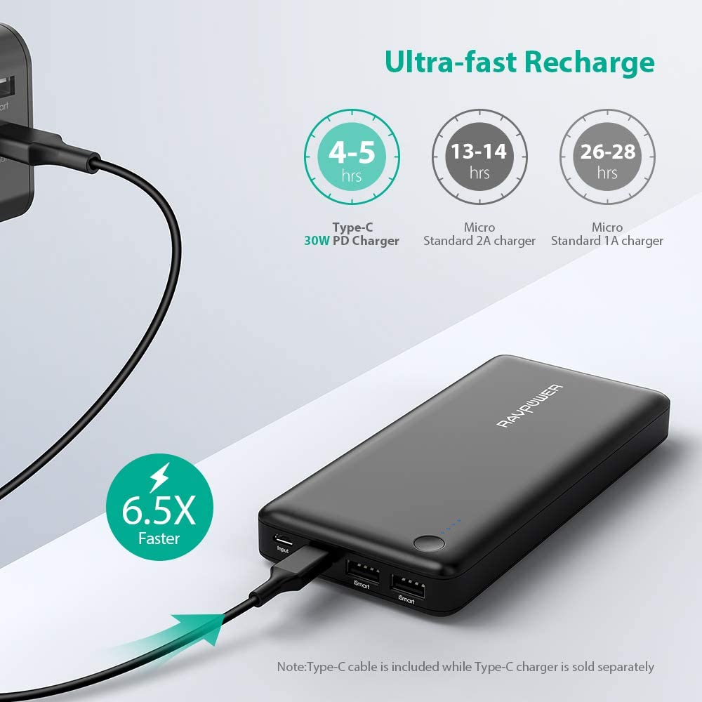 USB C Power Bank RAVPower 26800mAh PD Portable Charger (Fast Recharged In 4.5 Hours &USB-C Input, 30W Type-C Output) for Iphone 11/ Pro, Nintendo ...