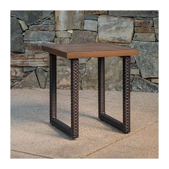 Christopher Knight Home Lundy Outdoor Aluminum Side Table with Wicker Legs, Multibrown - This handsome side Table is an excellent addition to your backyard, patio, or garden, making sure you always have somewhere to set down your drink or newspaper Made from the highest quality Rattan over an iron frame with an aluminum Table top, it is built to last Manufactured in China - patio-tables, patio-furniture, patio - 61MAw1LT6 L. SS570  -