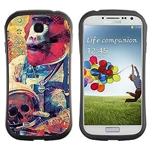 Hybrid Anti-Shock Bumper Case for Samsung Galaxy S4 / Monkey Astronaut Art