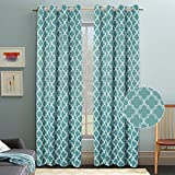 Flamingo P Room Darkening Moroccan Tile Quatrefoil Blackout Top Grommet Unlined Thermal Insulated Window Curtains, Set of Two Panels, Teal, each 84 by 52 For Sale