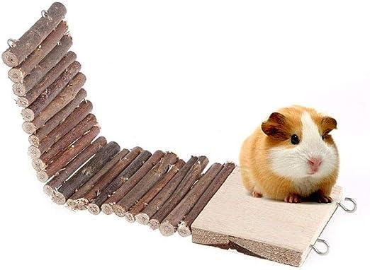 Uteruik Escalera de Escalada de Madera Natural para Masticar, Juguete para hámster, Rata, jerbo, ratón, Chinchilla cobaya, Ardilla, Jaula de Animales pequeños, 1 Unidad (r-#24): Amazon.es: Hogar
