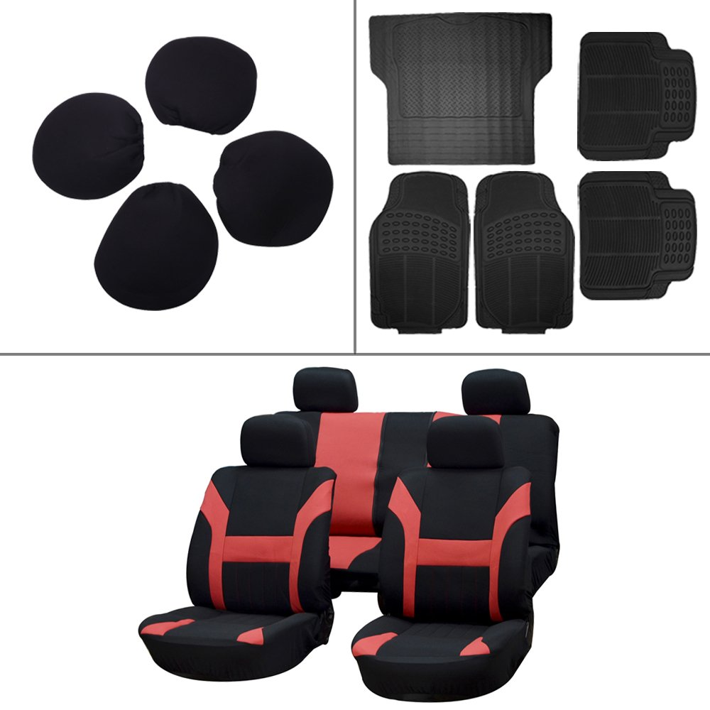 Scitoo 13-PCS Car Floor Mats W/Trunk Liner Black/Red Car Seat Covers for Heavy Duty Vans Trucks
