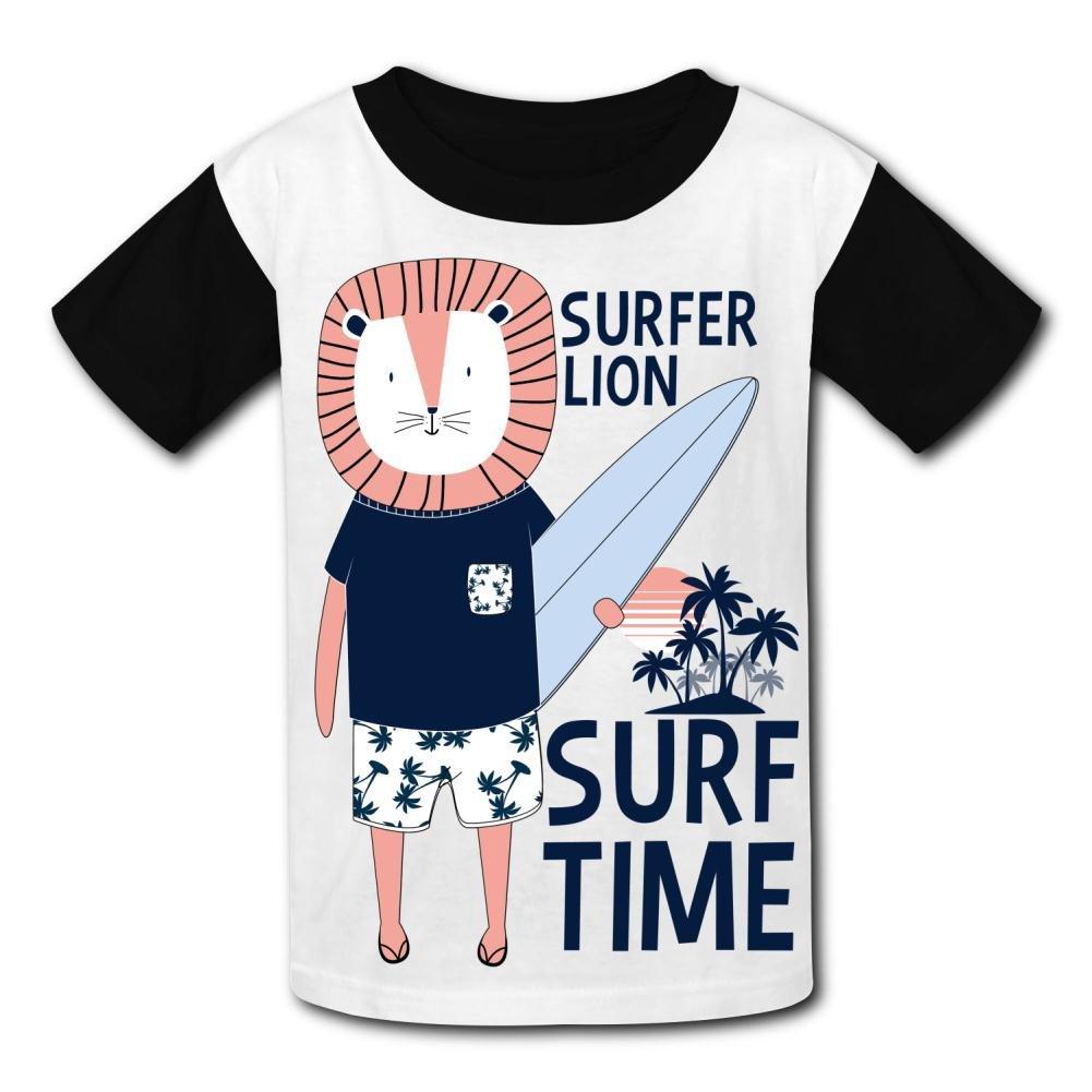 riverccc6.1500 Surfer Lion Surf Time Youth T-Shirt Boys Girls Tee