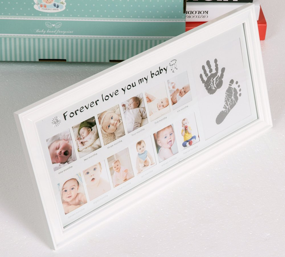 My First Year Wooden Baby Photo Frame Set Newborn Baby Footprint Handprint Frame Multi Aperture Collage Hanging Photograph Photo Frame Touch Hand Foot Print Kit for Baby Birthday Christenings