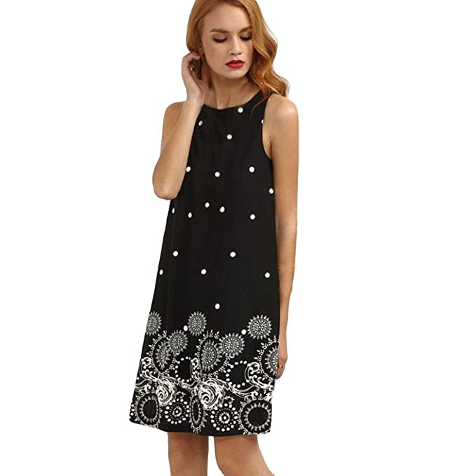 QUICKLYLY Mini Vestidos Mujer Verano 2018 Vendimia Floral Oscilación Camis Boda Elegantes para Fiesta Noche Playa