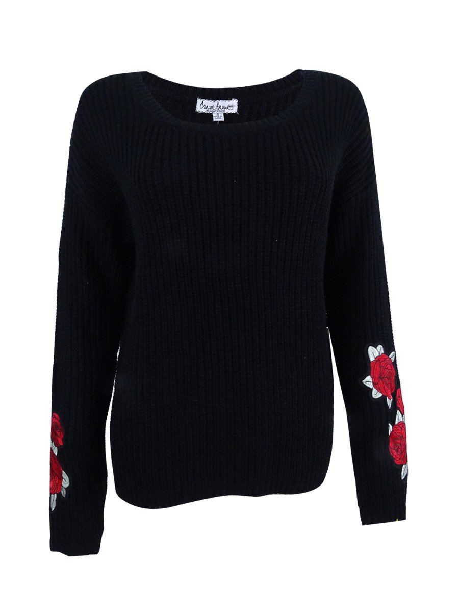 Almost Famous Juniors' Rose-Embroidered Sweater (S, Black)
