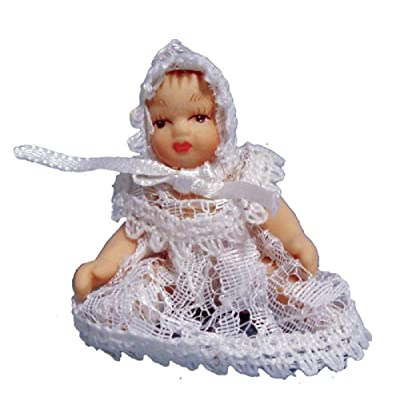 Melody Jane Dollhouse Victorian Baby in White Lace Miniature Porcelain People: Toys & Games