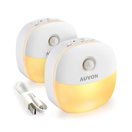 AUVON LED Nachtlicht mit Bewegungssensor, USB Aufladbare Nachtlampe Schranklicht mit 3 Modi (Auto/ON/OFF), Warmes weißes Orie