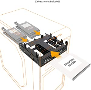 """ICY DOCK Tool-Less 4X 2.5"""" SSD/HDD & Slim/Ultra-Slim ODD Adapter Mounting Bracket for 5.25"""" Bay - Flex-FIT Quinto MB344SPO"""