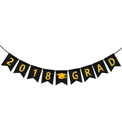 amazon com 2018 grad banner assembled 2018 gold graduation banner
