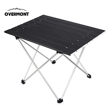Overmont Camping Aluminum Table Simple Fold Up Table Compact Portable  Ultra Light Card Table With