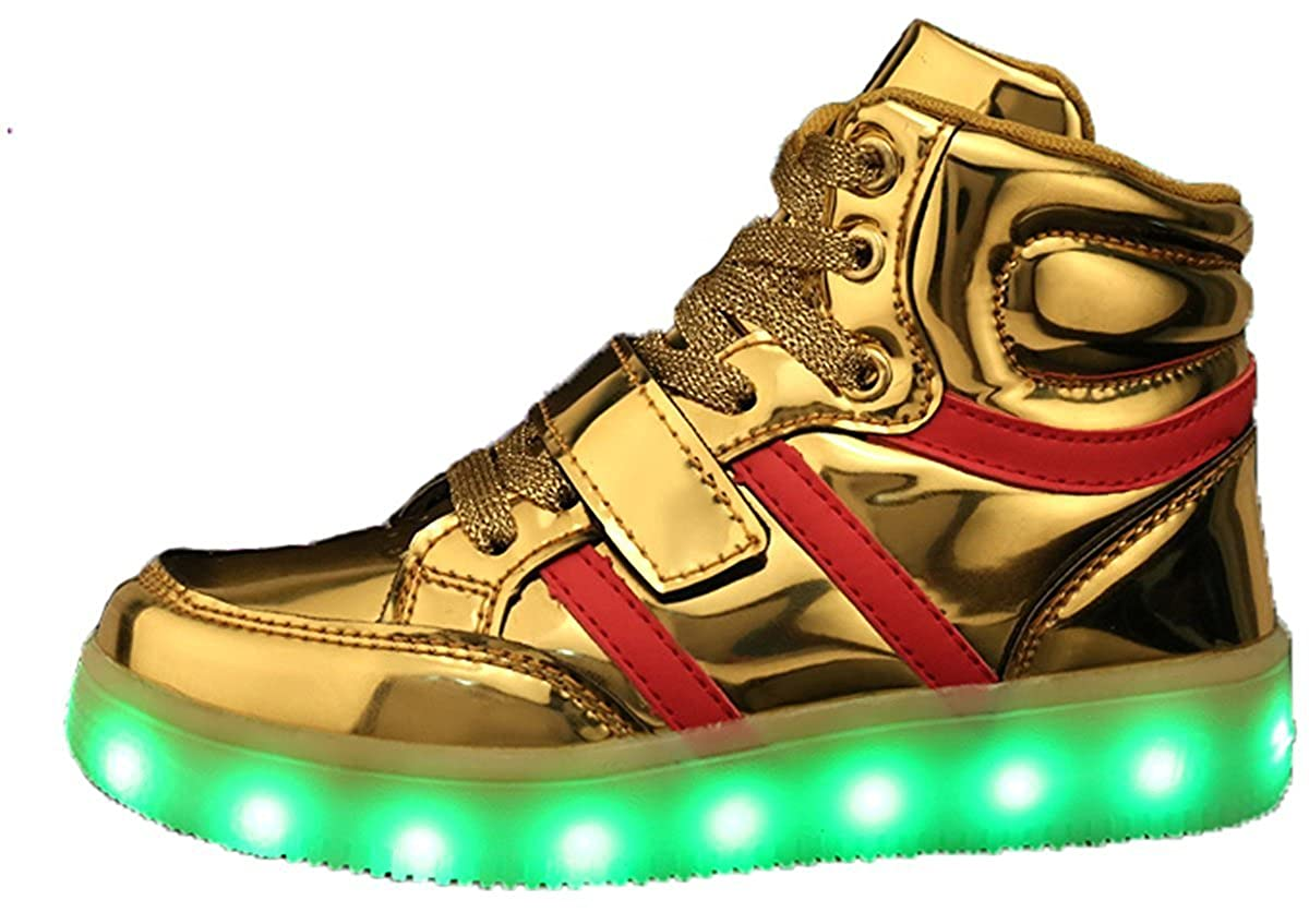 Kids Boy and Girls High Top Led Light Up Sneakers Flashing Rechargeable Sports Shoes