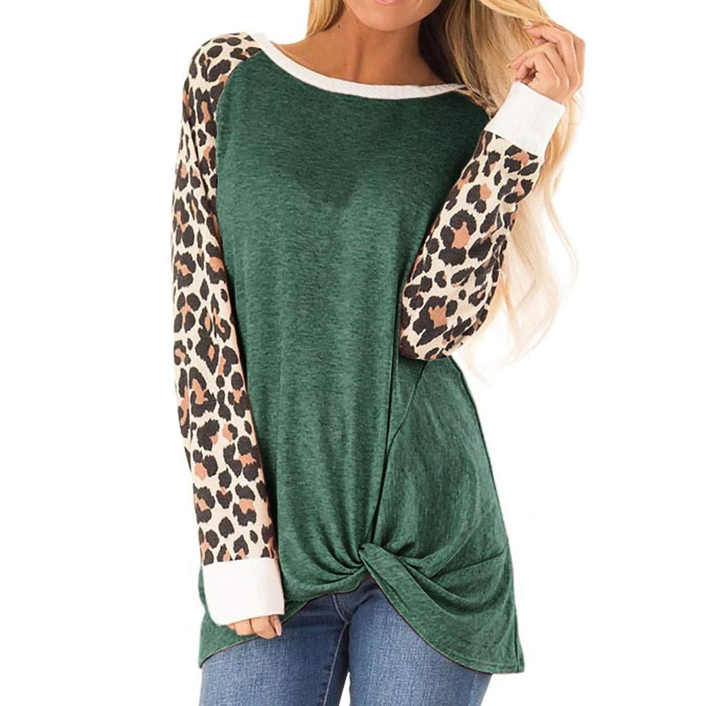 QIUUE Women O-Neck Cotton Sweatshirts Leopard Print Raglan Sleeve Plus Size Tops Tie Bloues Comfy T Shirt Pullovers Green by QIUUE