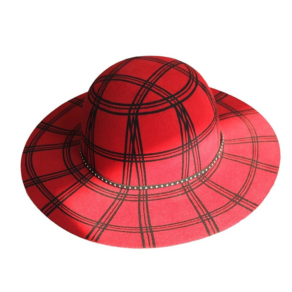 Shuo lan hu wai Herbst und Winter Wollstoff Hut mit Einem großen gestreiften Zylinder