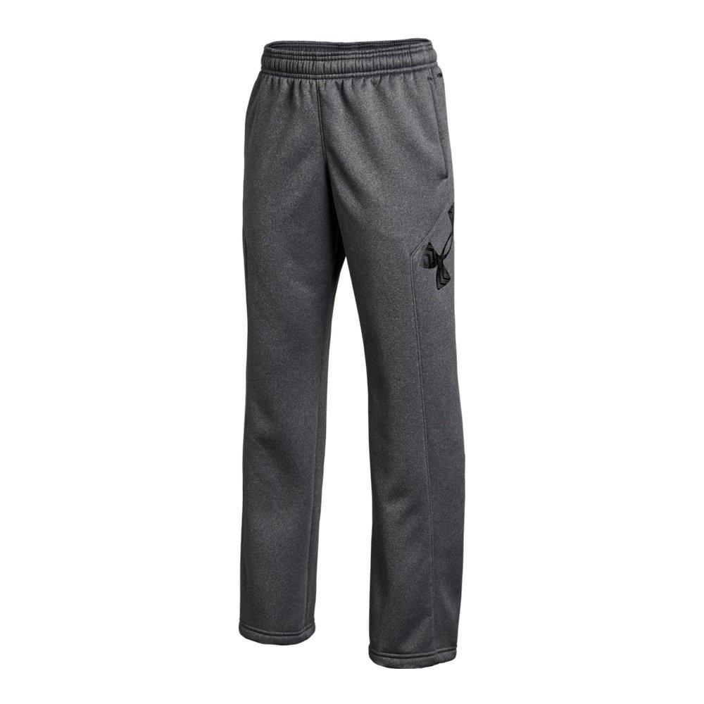 Under Armour Boys' Storm Armour Fleece Big Logo Pants, Carbon Heather (090)/Black, Youth Large