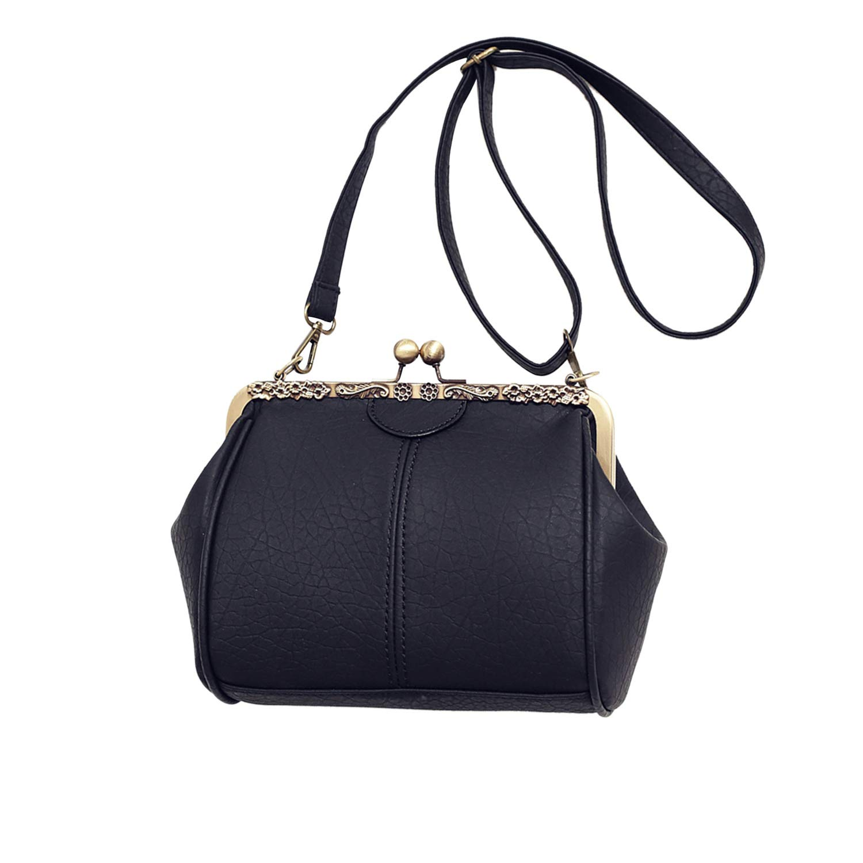 LUI SUI kvinnor retro handväska, PU-läder handväska vintage topp handtag väska kyss lås crossbody axelväska för damer Black Style a