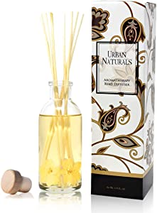 Urban Naturals Vanilla Orchid and Almond Scented Reed Diffuser Oil Set | Rich, Nutty Fragrance with Almond, White Orchid, Coconut Milk, Vanilla and Amber | Great Holiday Home Air Freshener