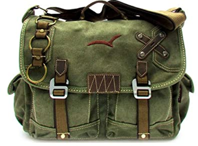 BEST Green Canvas Messenger Bag Military Vintage Cross Shoulder Laptop Bags  (Messenger Bag Green - b79c751ae24
