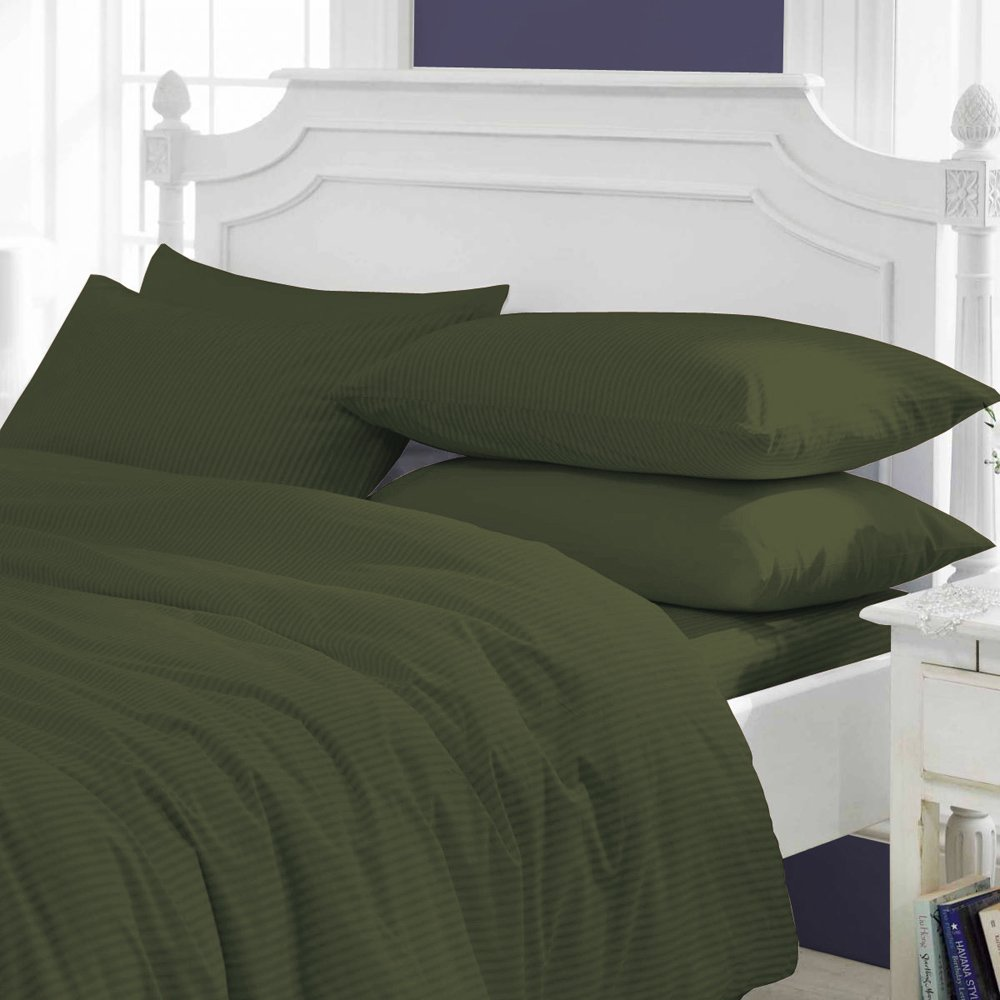 LujoNest Comfy SPA LIKE FEEL SUPER FLUFFY Egyptian Cotton Wrinkle Resistant HYPOALLERGENIC Made in USA 3-Piece Duvet Cover Set 800 Thread Count Stripe (King, Olive)