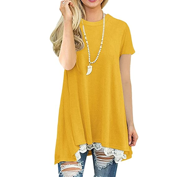 Lover-Beauty Camisa Corta Mujer Casual Suelto Manga Corta Vestido Blusa
