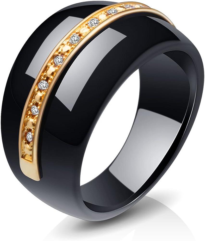 KaKaQi Jewelry Round Gem Stone Cubic Zirconia Ceramic Ring Statement Rings