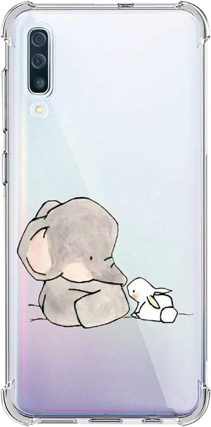 Oihxse Silicona Funda con Samsung Galaxy M30/A40S TPU Flexible Suave Transparente Protector Estuche Airbag Esquinas Reforzadas Ultra-Delgado Elefante Patrón Anti-Choque Caso (D6)
