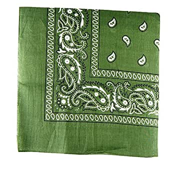 Paisley Cotton Bandana Army Green