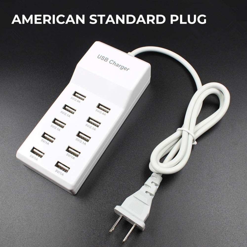 USB Rapid Charger 10-Port/Family-Sized USB Wall Charger with Rapid Charging Auto Detect/Technology/Safety Guaranteed Smart USB Ports for Multiple Devices Smart Phone Tablet Laptop Computer