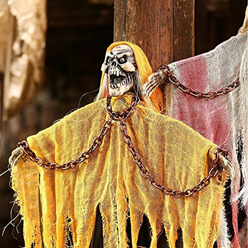 Halloween 3.5 Feet Hanging Grim Reaper Hanging Decorations with Flashing Eyes & Sound, with Shackles Chains, Hanging Skull Hanging Skeleton, Halloween Props, Best Halloween Decoration (Yellow) by CHICHIC
