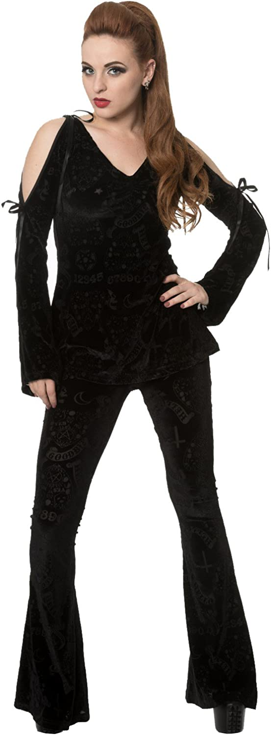 70s Jumpsuit | Disco Jumpsuits, Sequin Rompers Banned Apparel - Womens Black Angel Flare Sleeve Bow Top £39.06 AT vintagedancer.com