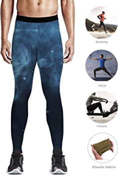 c277c03415ff5 Custom Men Leggings Full-Length Capri Leggings Compression Dry Cool Tights  Pants for Gym, Basketball, Cycling, Yoga, Hiking Starry Sky 3D Galaxy  Lightning ...