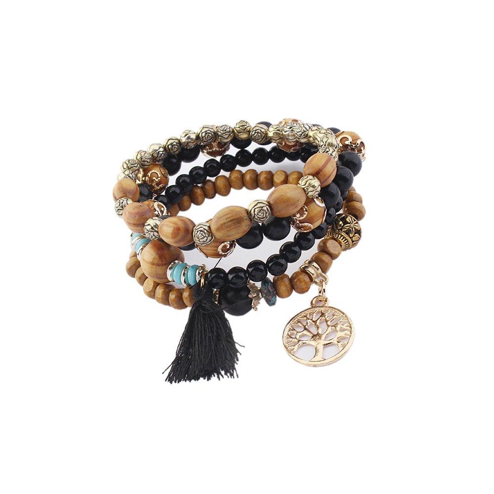 Amazon.com: Lureme Vintage Wood Beads Multi Strand Stretch Bracelet Set  Life Tree Tassel Charms-Black (bl003185-2): Jewelry