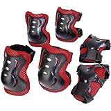 キッズプロテクター 子供用 3点セット(手首・肘・膝)  黒と赤