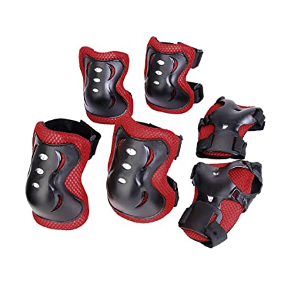 80e72e49a Buy Generic Kid Cycling Roller Skating Knee Elbow Wrist Protective Pads -  Black And Red Online at Low Prices in India - Amazon.in