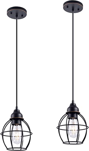 YaoKuem Pendant Lighting Fixture with Oil Rubbed Bronze Finish, Hanging Lights with One Medium Base Max. 60 Watts, Bulbs not Included, 2-Pack
