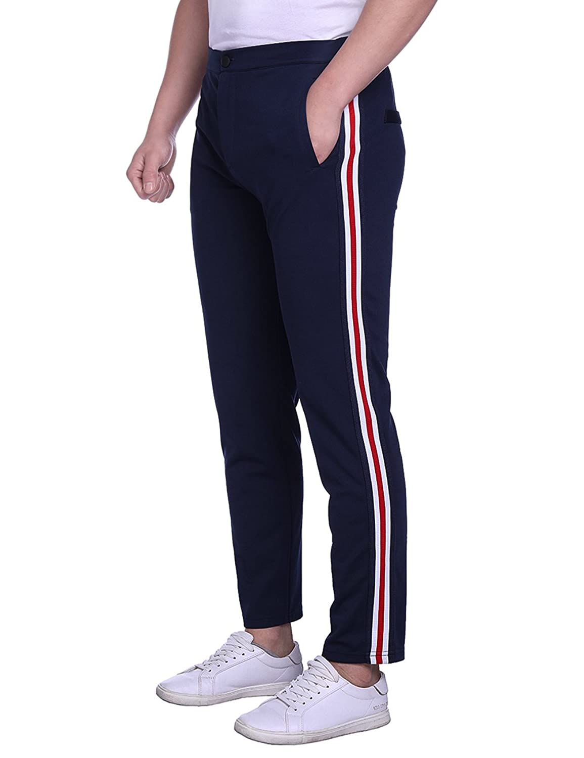 Hequ Men's Casual Stretch Pant Stripe Straight Leg Trousers by Hequ