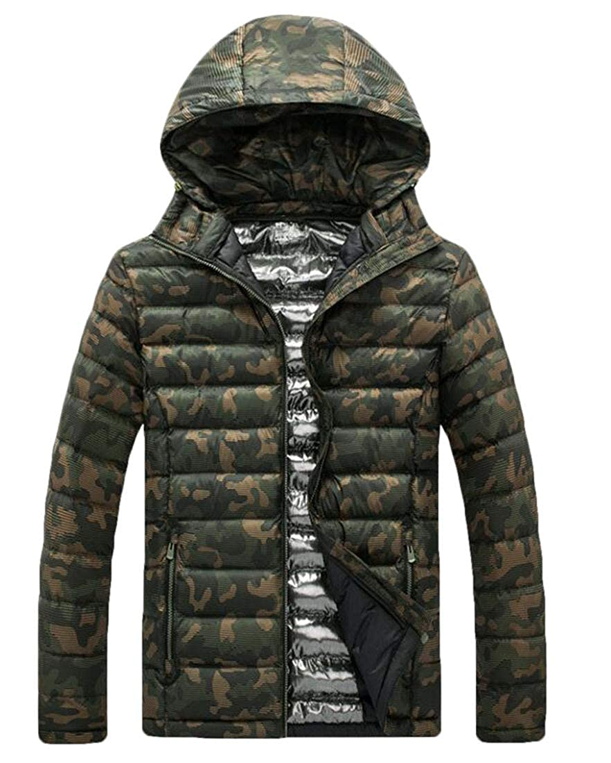 YYear Mens Camo Print Thicken Stand Collar Hooded Quilted Down Jacket