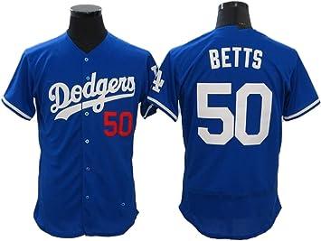 Camiseta de béisbol para Hombre Mookie Betts No. 50 Dodgers, Camisa con Botones Bordados Personalizados, Camiseta Hip-Hop Juvenil: Amazon.es: Deportes y aire libre