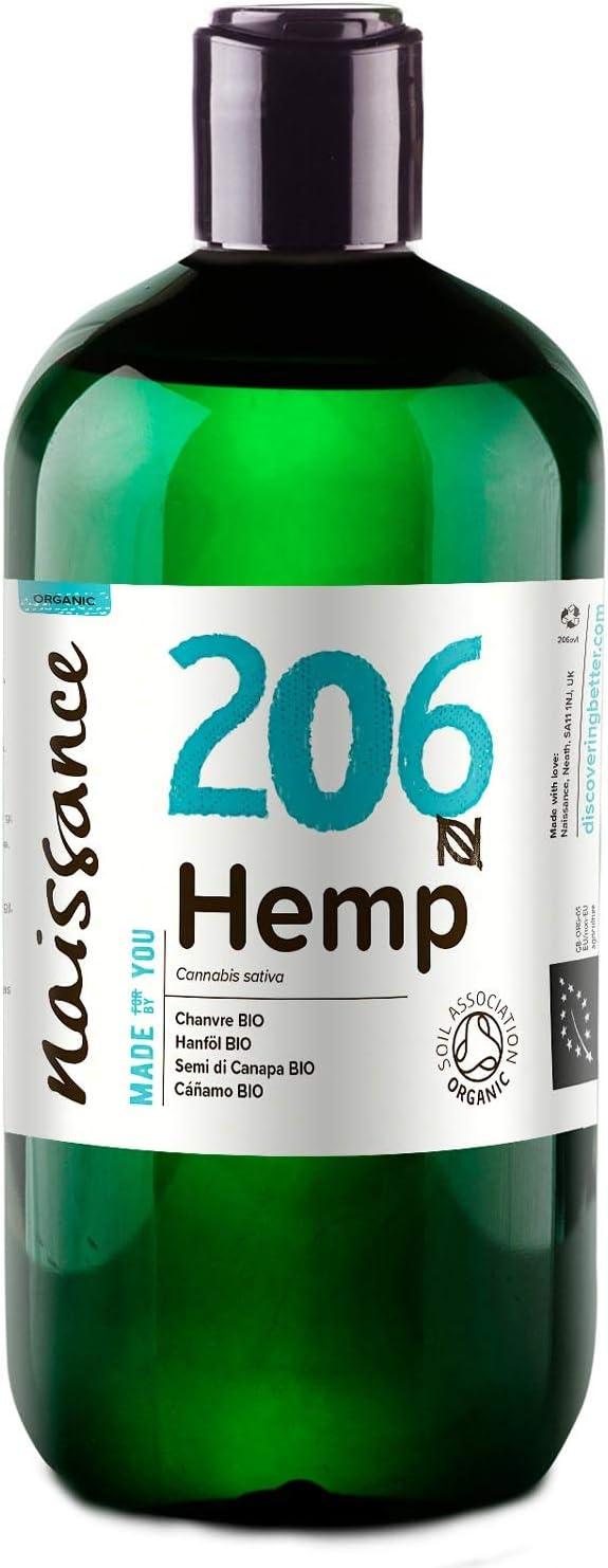 Naissance Aceite Vegetal de Semillas de Cáñamo BIO n. º 206 – 500ml (2x250ml) - 100% puro, prensado en frío, virgen, certificado ecológico, vegano y no OGM