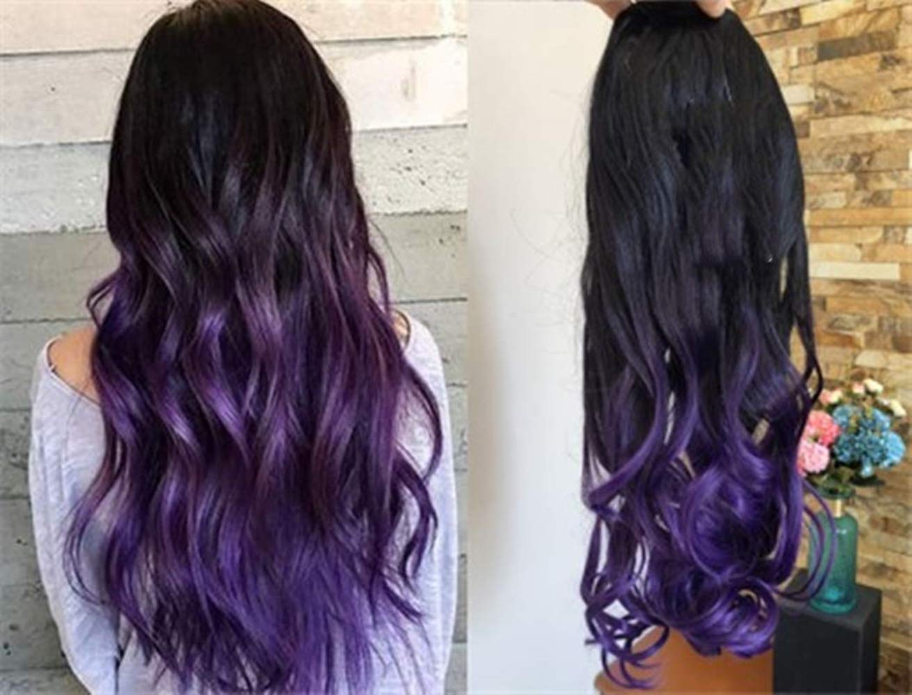 Amazon Com 3 4 Full Head Clip In Hair Extensions Ombre One Piece 2 Tones Wavy Curly Dl Natural Black To Purple Beauty