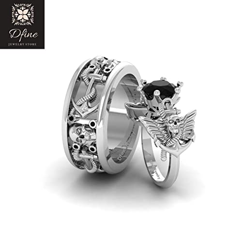 Gothic Wedding Rings.Amazon Com Archangel Wings Nautical Anchor Skull Gothic Engagement