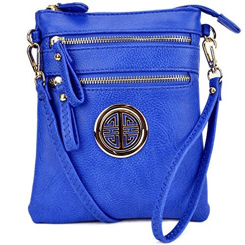 Lady Small Crossbody Bag Purse Lightweight Multi Pocket Shoulder Bag Messenger Bag Faux Leather Royal - Blue Leather Bag