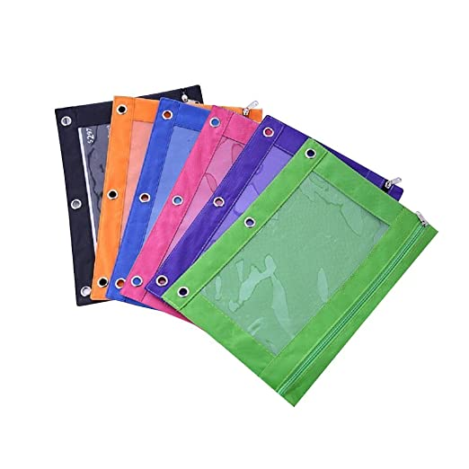 fancyus cartón con cremallera lápiz bolsa con 3 remaches enforced agujeros, 6 unidades: Amazon.es: Oficina y papelería