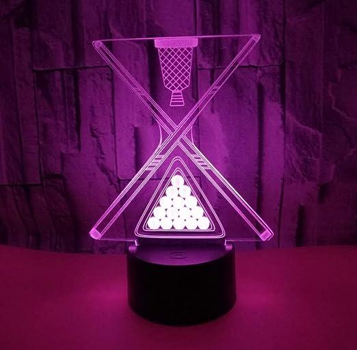 Ilusión 3D luz nocturna decorativa, bola de billar luz 3D toque colorido billar LED regalo de luz visual 3D creativa pequeña lámpara de mesa: Amazon.es: Iluminación